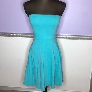 Aqua colored strapless dress